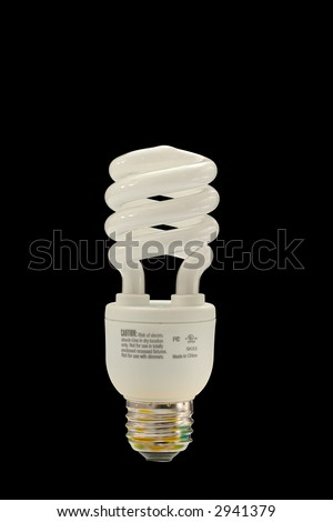 fluorescent light bulb with clipping path - stock photo