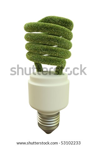 Fluorescent lightbulb covered with grass - stock photo