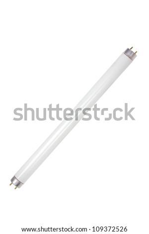 Fluorescent Tube on White Background - stock photo