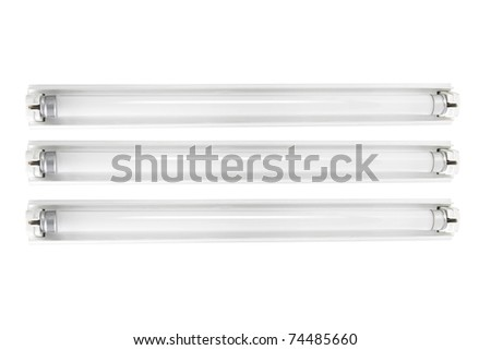 Fluorescent Tubes on White Background - stock photo