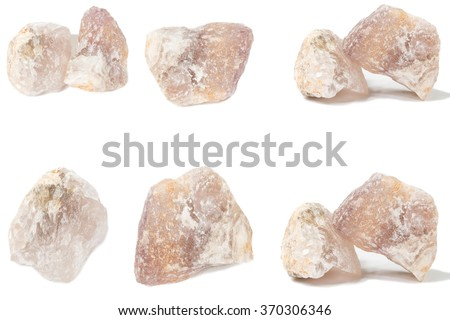 fluorite mineral crystal sample for science and geology isolate on white - stock photo