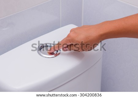 Flush cleaning toilet - stock photo