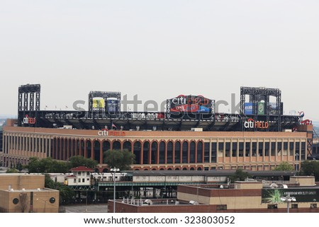 FLUSHING, NEW YORK - AUGUST 31, 2015: Citi Field, home of major league baseball team the New York Mets in Flushing, NY - stock photo