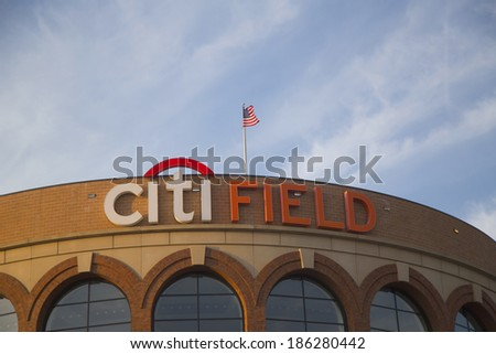 FLUSHING, NY - APRIL 8: Citi Field, home of major league baseball team the New York Mets on April 8, 2014 in Flushing, NY. - stock photo