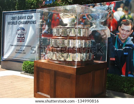 FLUSHING, NY - AUGUST 28: Davis Cup trophy on display at  Billie Jean King National Tennis Center on August 28, 2008 in Flushing, NY. Team USA won Davis Cup 32 times, last time in 2007 - stock photo