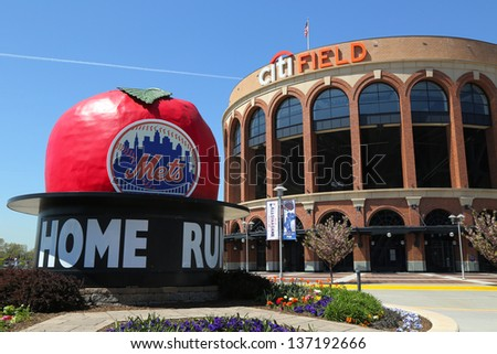 FLUSHING, NY - MAY 2: Citi Field, home of major league baseball team the New York Mets on May 2, 2013 in Flushing, NY. The Mets will host the Major League Baseball All-Star Game on July, 16 2013. - stock photo