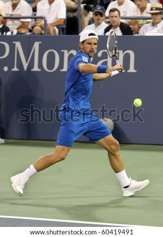 FLUSHING, NY - SEPTEMBER 4: Jurgen Melzer volleys during mens singles at the US Open Tennis Tournament at the Billie Jean King National Tennis Center on September 4, 2010 in Flushing, NY.