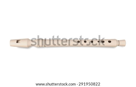 Flute isolated on white background. 3d render image. Music instruments series. - stock photo