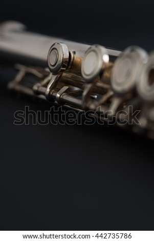 Flute on black background.