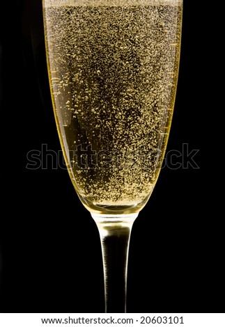 Flute with sparkling champagne against black background - stock photo