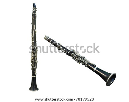 flutes under the white background - stock photo