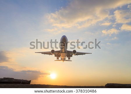 fly aircraft blue sky background