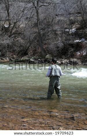 Fly Fisherman - stock photo