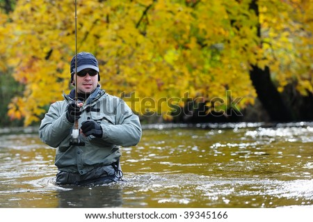 Fly-fishing - stock photo