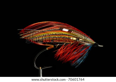 Fly fishing flies / lures for salmon - stock photo