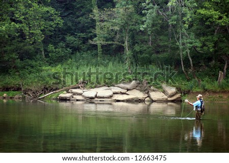 Fly Fishing in Tennessee - stock photo