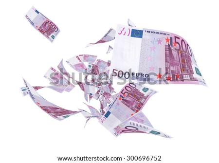 Fly Five hundred euro banknotes (isolated on white and clipping path) - stock photo