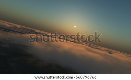 fly in clouds sunset