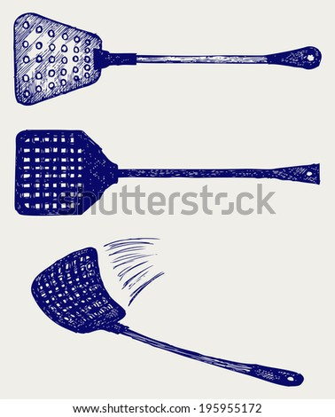 Fly swatter. Doodle style. Raster version - stock photo