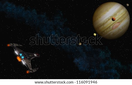 Fly to Jupiter - stock photo
