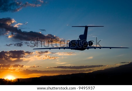 Fly to sunrise airplane photo - stock photo