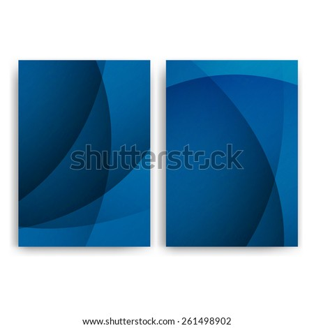 Flyer design templates. Set of blue A4 brochure design templates with geometric abstract modern lights backgrounds. - stock photo