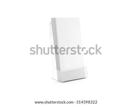 Flyer glass plastic holder. Flier stand. Brochure holding mock up for the design presentation  isolated on white. Showing leaflet design. Empty pamphlet template. - stock photo