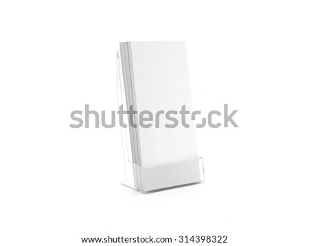 Flyer glass plastic holder. Flyer stand. Brochure holding. Flier mock up for the design presentation on the stand isolated on white. Showing show shows flyer. Flyers design. Empty fliers template. - stock photo