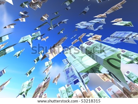 Flying Airplanes euro over a blue sky