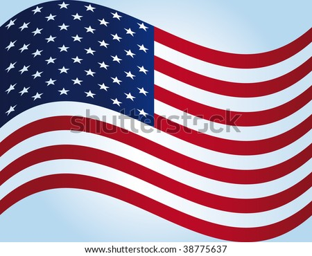 Flying american flag. - stock photo