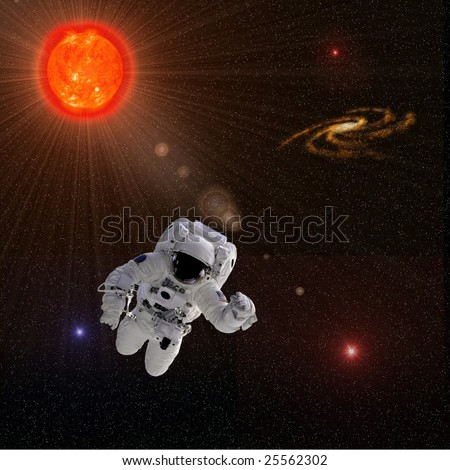 Flying astronaut on a background with Sun. Some components of this image are provided courtesy of NASA, and have been found at nasaimages.org - stock photo