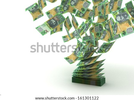 Flying Australian Dollar (isolated with clipping path) - stock photo