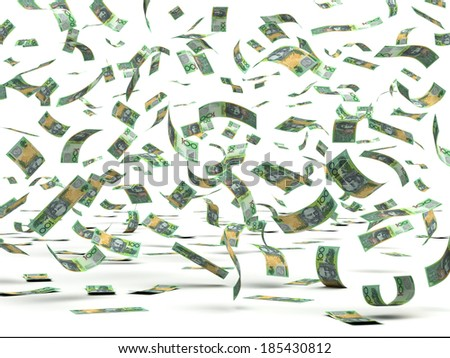 Flying Australian Dollars (isolated with clipping path) - stock photo