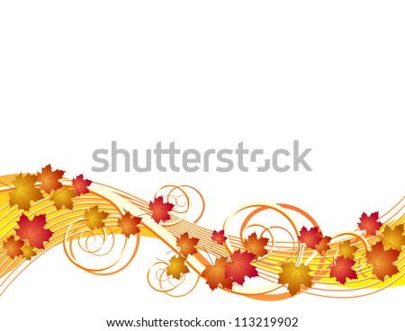 Flying autumn leaves. - stock photo
