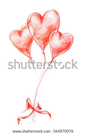 Flying Balloon with Bow on St. Valentine's Day. Graphic illustration in red Pencil freehand Drawing - stock photo