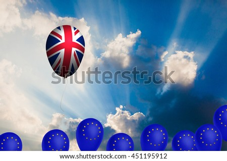 Flying balloon with the flag of the United Kingdom  - stock photo