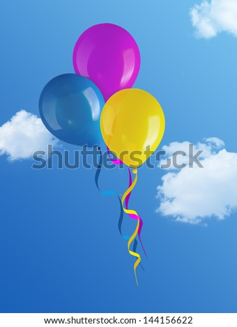 flying balloons in blue sky - stock photo