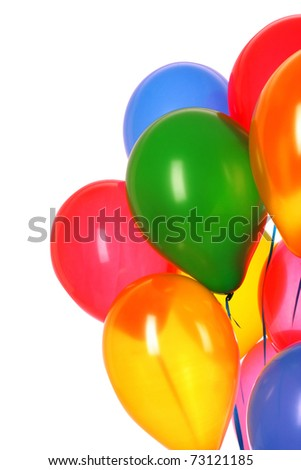 Flying balloons isolated on white - stock photo