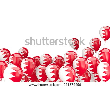 Flying balloons with flag of bahrain isolated on white - stock photo