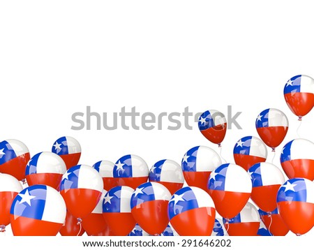 Flying balloons with flag of chile isolated on white