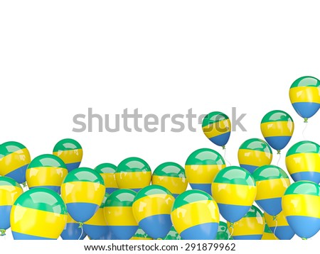 Flying balloons with flag of gabon isolated on white - stock photo
