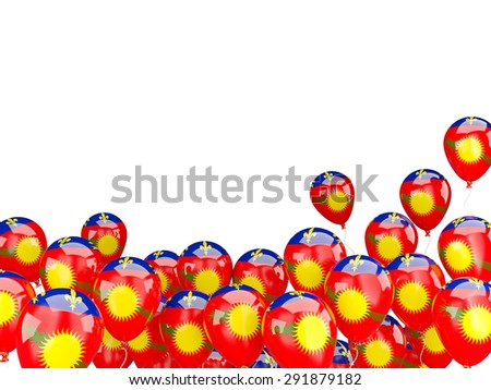 Flying balloons with flag of guadeloupe isolated on white