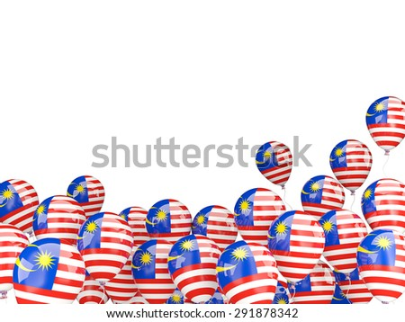 Flying balloons with flag of malaysia isolated on white - stock photo