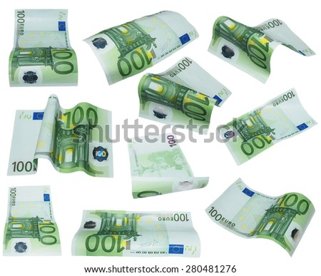 flying banknote 100 one hundred euro isolated on white background - stock photo