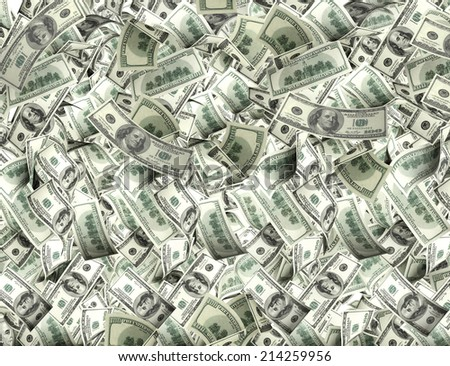 Flying banknotes of dollars - stock photo