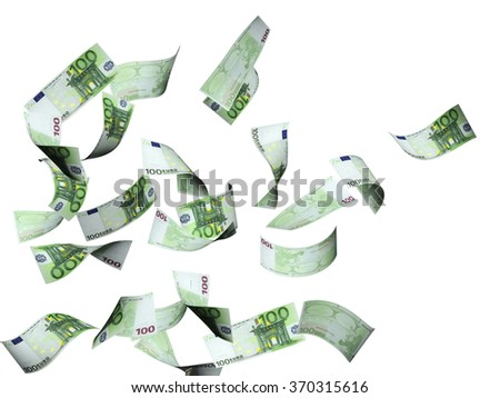 Flying banknotes of euro. Isolated on white background
