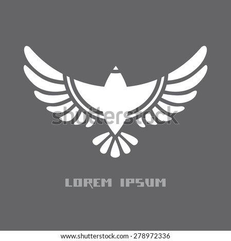 Flying bird icon. Flat sign for logo design template. Original decorative illustration for print, web - stock photo