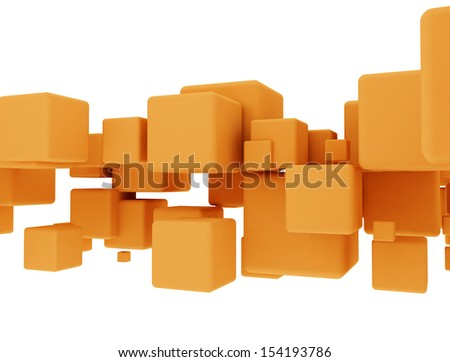 Flying blank 3d cubes isolated on white