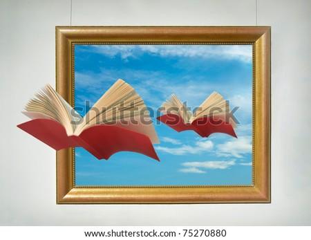 Flying books - stock photo