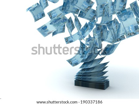 Flying Brazilian Real - stock photo
